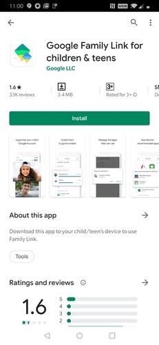 Filhos do Google Family Link