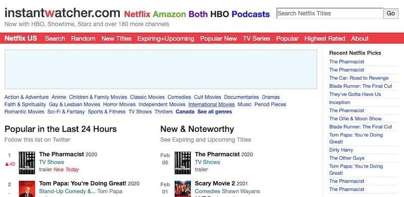 Observador instantâneo das principais dicas da Netflix