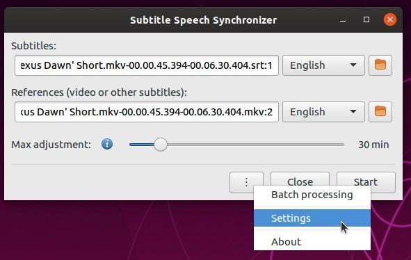 Corrigir legendas automaticamente com as configurações do menu Subsync