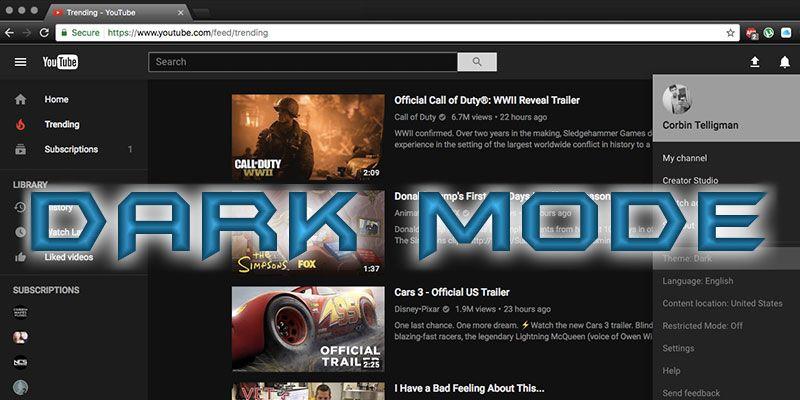 Como ativar o modo escuro no YouTube