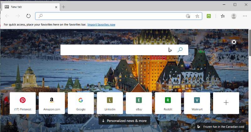 Interface de usuário do Edge Vs Chrome Edge