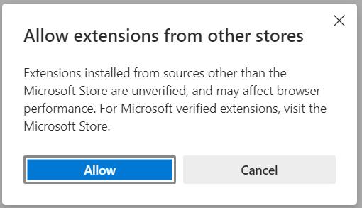 Edge Vs Chrome Permitir extensões