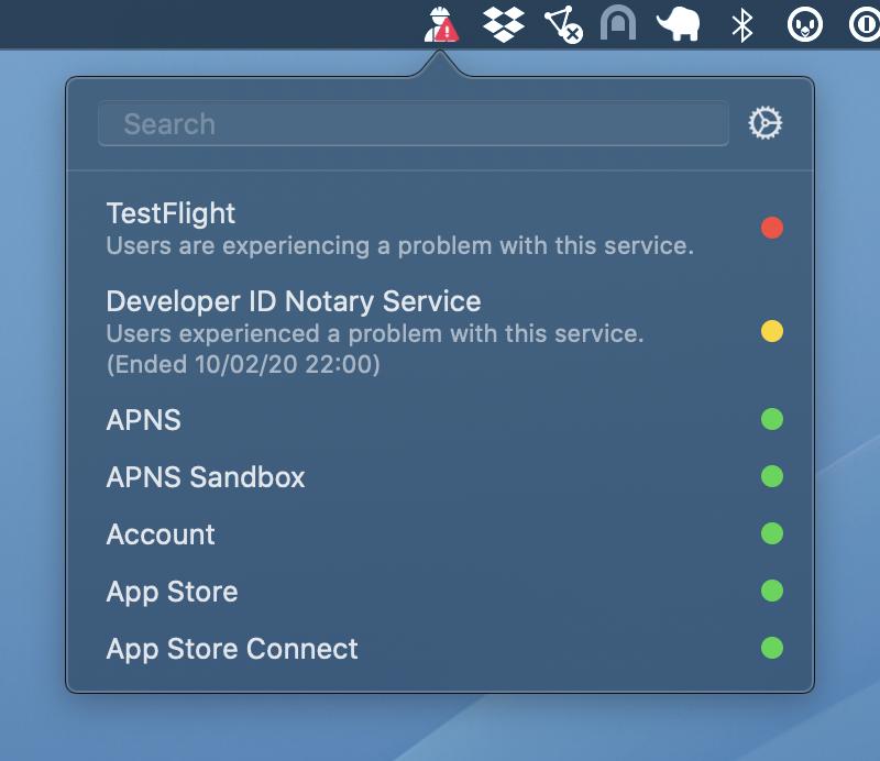 Verifique rapidamente o status de AppleServiços de desenvolvedor e consumidor com StatusBuddy 2