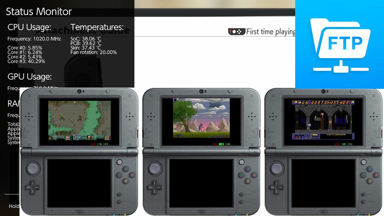 Vita, Switch Versões do & 3DS: servidor FTP em segundo plano para o PSVita que pode ser executado durante os jogos, sobreposição do Monitor de status para o Switch para visualizar estatísticas de hardware e um emulador Amiga 500 para o 3DS!
