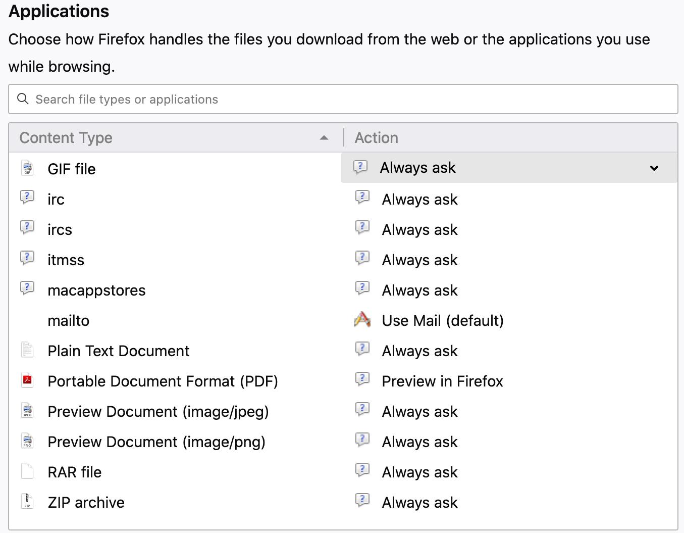 Alterar arquivos de locais de download Firefox Mac