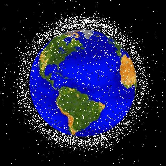representação visual de detritos espaciais pela NASA