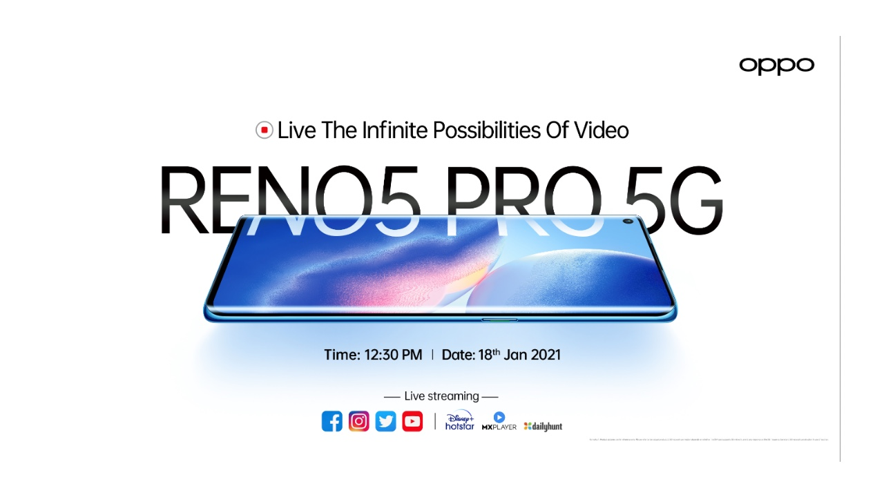 Lançamento Oppo Reno5 Pro 5G Índia