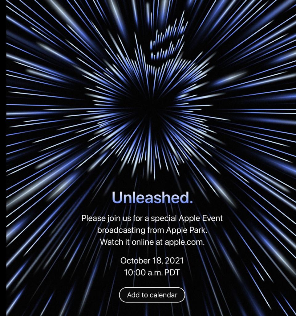 Apple  Desencadeado 2021, evento de 18 de outubro